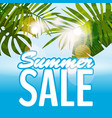 sale summer banner poster with tropical leaves vector image vector image