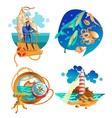 sea ocean nautical symbols set vector image
