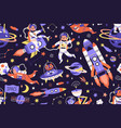 seamless childish cosmic pattern with cute animals vector image