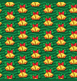 seamless pattern of christmas bells with leaves vector image