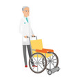 senior caucasian doctor pushing wheelchair vector image vector image