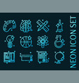 set education blue glowing neon icons vector image