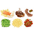 set of food on white background vector image vector image