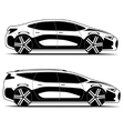 silhouettes cars isolated on white background vector image vector image