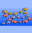 small fish on a blue background vector image