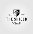 vintage vault logo shield retro vector image