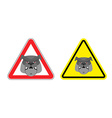 Warning sign attention dog Hazard yellow sign a vector image vector image