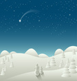 Winter Christmas landscape with falling star vector image