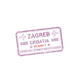 zagreb airport visa stamp isolated croatia control vector image vector image