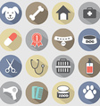 Modern Flat Design Dog Icons Set vector image