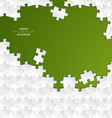 Abstract white group puzzle with green background vector image vector image