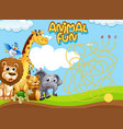 animals maze game template vector image vector image