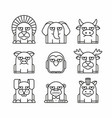 Animals set on white background