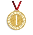 Art Golden Medal Icon Sign First Place vector image vector image