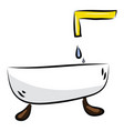 bathtub with faucet color on white background vector image