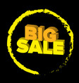 bright 3d words big sale at black background vector image vector image