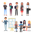 business conference leader and team employees vector image vector image