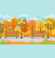 cartoon autumn park yellow trees city parks vector image vector image