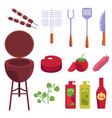 cartoon barbecue bbq grill symbols set vector image