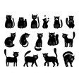 cats silhouettes on white elegant cat icons vector image vector image