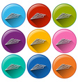 Circle buttons with paper airplanes vector image vector image
