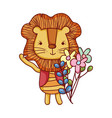 cute animals little lion flowers leaves foliage vector image