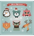 Cute Christmas Fashion Hipster Animals and Pets vector image vector image