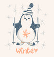 cute penguin skiing print design for kid vector image vector image