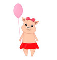 cute pig holding a balloon vector image