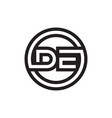 d e circle lines letter logo design vector image vector image