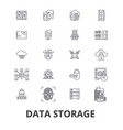 data storage line icons editable strokes flat vector image vector image