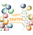 easter card with colorful painted eggs vector image