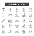 fitness clubs line icons signs set vector image