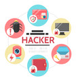 flat hacker activity round concept vector image
