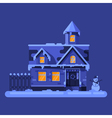 flat style of winter house vector image vector image