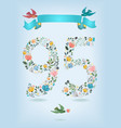 floral number ninety five with ribbon and birds vector image vector image