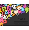Game kawaii invite Cute gaming design elements vector image