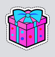 gift box pink new year present with blue ribbon vector image