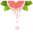 grapefruit slice with juice drops juicy citrus vector image