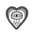 graphic flaming heart with watery eye vector image vector image