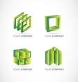 Green square cube box logo icon set vector image