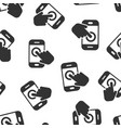 hand touch smartphone icon seamless pattern vector image