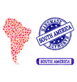 handmade composition of map of south america and vector image vector image