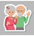Happy senior couple waving his hand vector image vector image