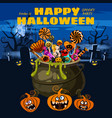 hello halloween cauldron full candies and vector image vector image