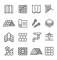 housetop construction materials linear vector image