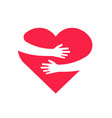 hugging heart hands holding heart arm embrace vector image vector image