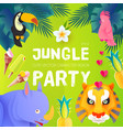 jungle party cute exotic animals design children vector image vector image