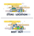 line art store and best buy poster banner vector image vector image