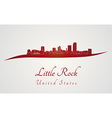 Little Rock skyline in red vector image